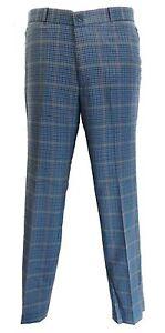 Mens-Blue-Tweed-60S-70S-Retro-Mod-Vintage-Sta-Press-Trousers