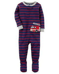 CARTER'S BABY BOY 1PC RED FIRETRUCK FOOTED SLEEPER COTTON PAJAMAS 12M 24M