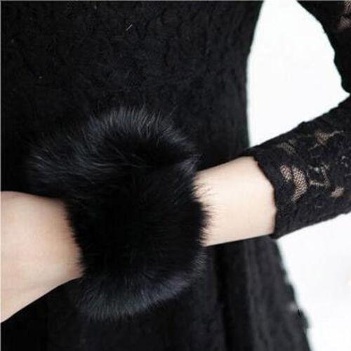 Fashion Winter Warm Women Faux Fur Fluffy Elastic Wrist Cuffs Arm Warmer Plush