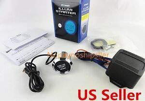 Universal Car Engine Start Push Button Switch Ignition Starter Kit Blue LED 12V