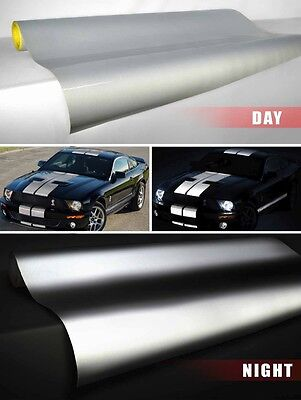 """white reflective vinyl film 3ft x 48/"""" inches self adhesive decal Vvivid silver"""
