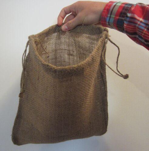 "3 BURLAP BAGS  12/"" X 14/"" WITH DRAWSTRING  SACK GUNNY FEED BAG TOW SACK GIFT"