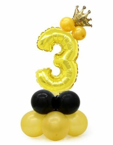 Luftballon Set Geburtstag Kind Ballon Geschenk gold Deko Zahl Nummer groß Krone