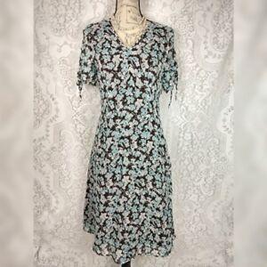 Jaclyn-Smith-Womens-Dress-Size-6-Brown-Blue-Floral-Silk-Short-Sleeve-V-neck-Midi