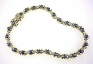Genuine-Iolite-X-039-s-and-Os-Bracelet-925-Sterling-Silver-2-50-CTW-25-3-0-MM-Stones