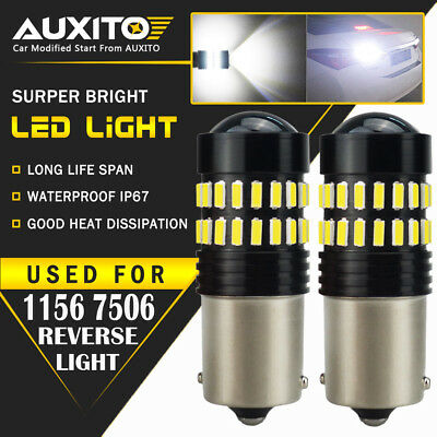 2X AUXITO BA15S 1156 P21W 7506  Reverse Back Up Light Super White LED Bulb EA