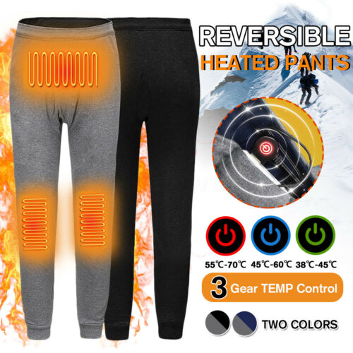Men/'s Reversible USB Heated Trousers Winter Hiking Theral War Heating Pants   ❃