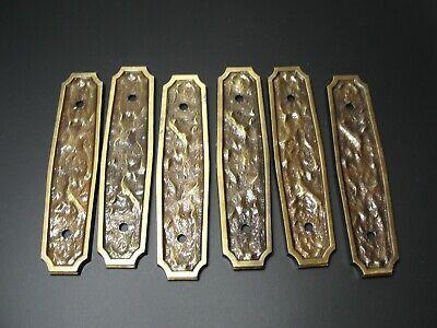 """6 Vintage Amerock Hammered Japanned Drawer Pull Back Plates 4.5"""" 3"""" Center Antiques Drawer Pulls"""