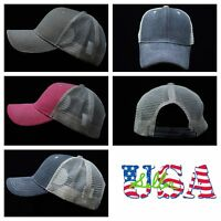 Baseball Cap Plain Hat Mesh Sports Hats Casual Solid Faded Vintage Trucker Caps