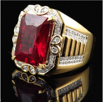 Square Ruby 925 Sterling Silver Bishop Cleric Cross Pope Christian Gold P.  Ring | eBay