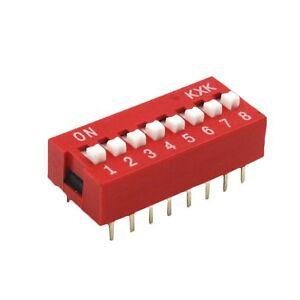10PCS-Slide-Type-Switch-Module-2-54mm-8-Bit-8-Position-Way-DIP-Red-Pitch