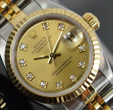 ROLEX OYSTER PERPETUAL DATEJUST LADIES DIAMOND DIAL 69173 BOX/PAPERS/GTE S 94 YR