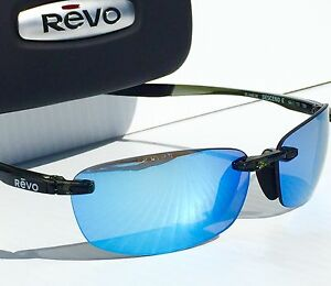 fc2cbe74f4 NEW  REVO DESCEND E Black Polished w Blue POLARIZED Lens Sunglass ...