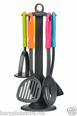 Funky Multi Colour 5 Piece Nylon Kitchen Cooking Utensil Tool Set Hygienic Food