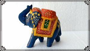 Wooden-Elephant-Hand-Carved-Wood-Figurine-India-Elephants-Sculpture-Diwali-Decor