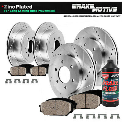 Rear Drill Slot Brake Rotors /& Ceramic Pads For 2012 2013 2014 Ford F150 6 Lug