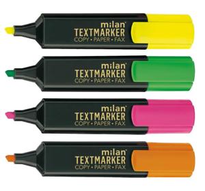 Milan Textmarker 4er Set Leuchtmarker mit Keilspitze sortiert 1-5mm Strichbreite
