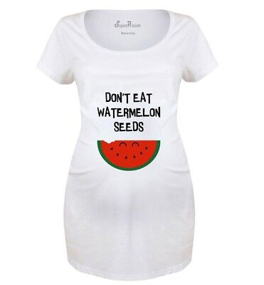 Maternity T shirts Pregnancy Shirts Top Tunic Outfit Don/'t Eat Watermelon Seeds