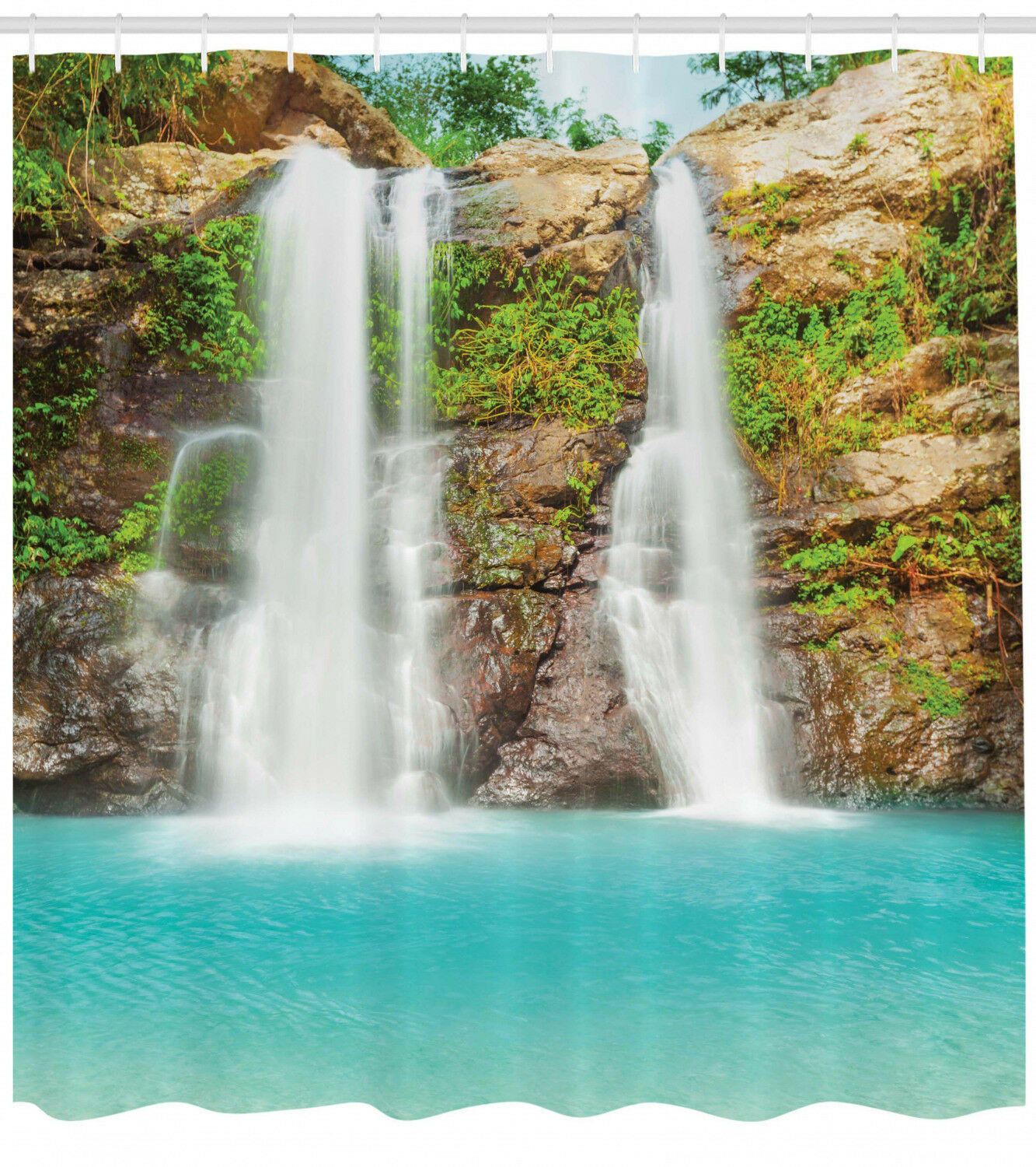 Waterfall In Tropical Rainforest Fresh Lake Exotic Nature Shower Curtain Set For Sale Online