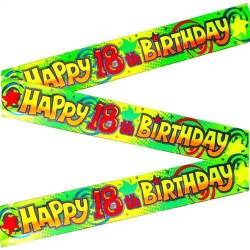 Happy 18ème Anniversaire Bannière ados 2 Mètres Vert /& Jaune-butin sac de fête enfants