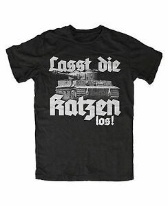 Lasst-die-Katzen-los-M2-T-Shirt-Katze-Panzer-ww2-Tigerpanzer-Reich-Kult-Militaer
