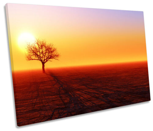 Tree Silhouette Sunset Landscape SINGLE CANVAS WALL ART Framed Print