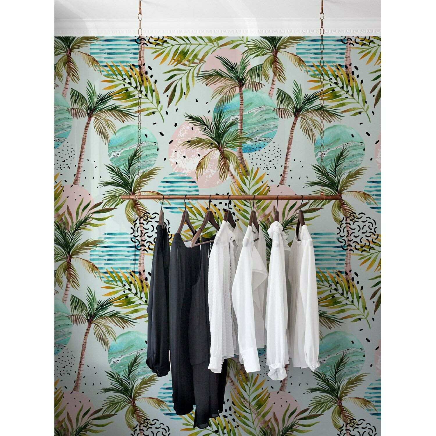 Holiday WaterFarbe Palms Non-Woven wallpaper waterFarbe abstract painting Mural
