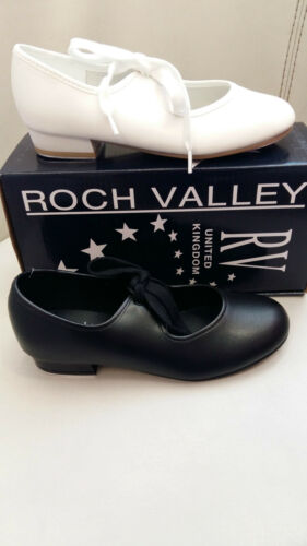 Black //White Tap Shoes Low Heel Regulation Roch Valley Tap on Toe /& Heel