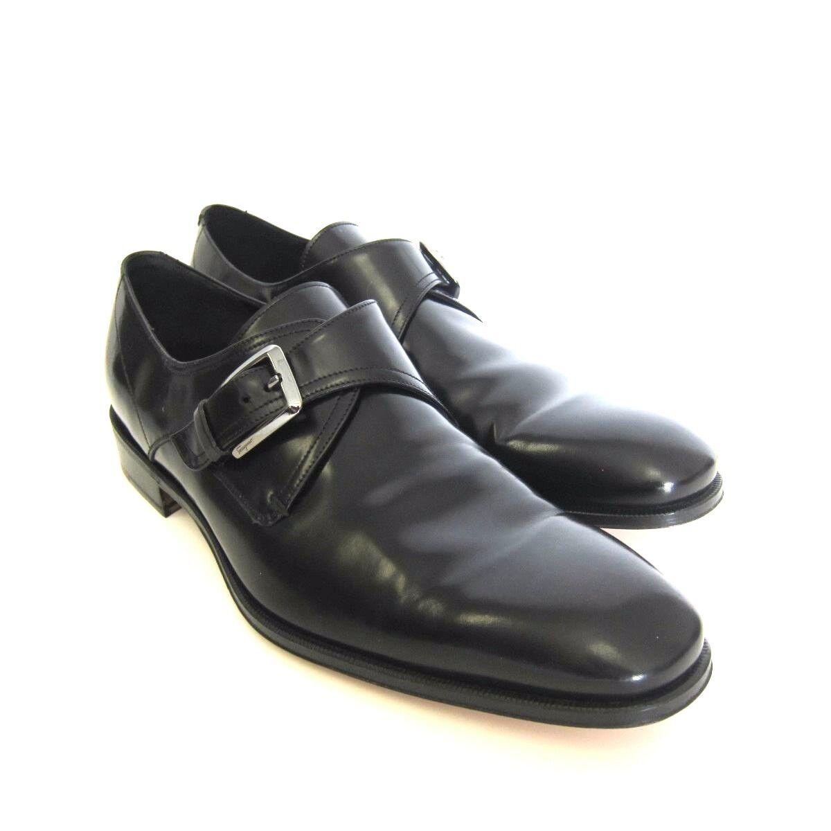 Y-1110252 Neuf Salvatore Ferragamo Cipro Chaussures Cuir Noir à Enfiler Taille
