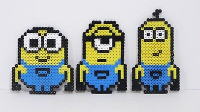 New Three Minion Perler Bead Pixel Art Magnets Bob Stuart Kevin Large 4 12 5 Ebay