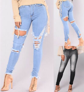 New Womens Ladies Girls High Waisted Extreme Ripped Slim Skinny Jeans 8-16