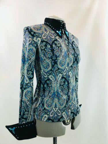 Details about  /Medium Western Show Pleasure Rail Shirt Jacket Clothes Showmanship Horsemanship