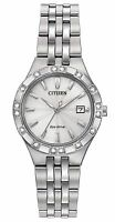 Citizen Eco-Drive Womens Diamond Accents Silver Tone Watch