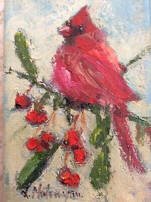 Cardinal Painting ORIGINAL Art Red Bird Wall Art Abstract Bird Artwork on Stretched Canvas 16 by 16 by Nadya Ya