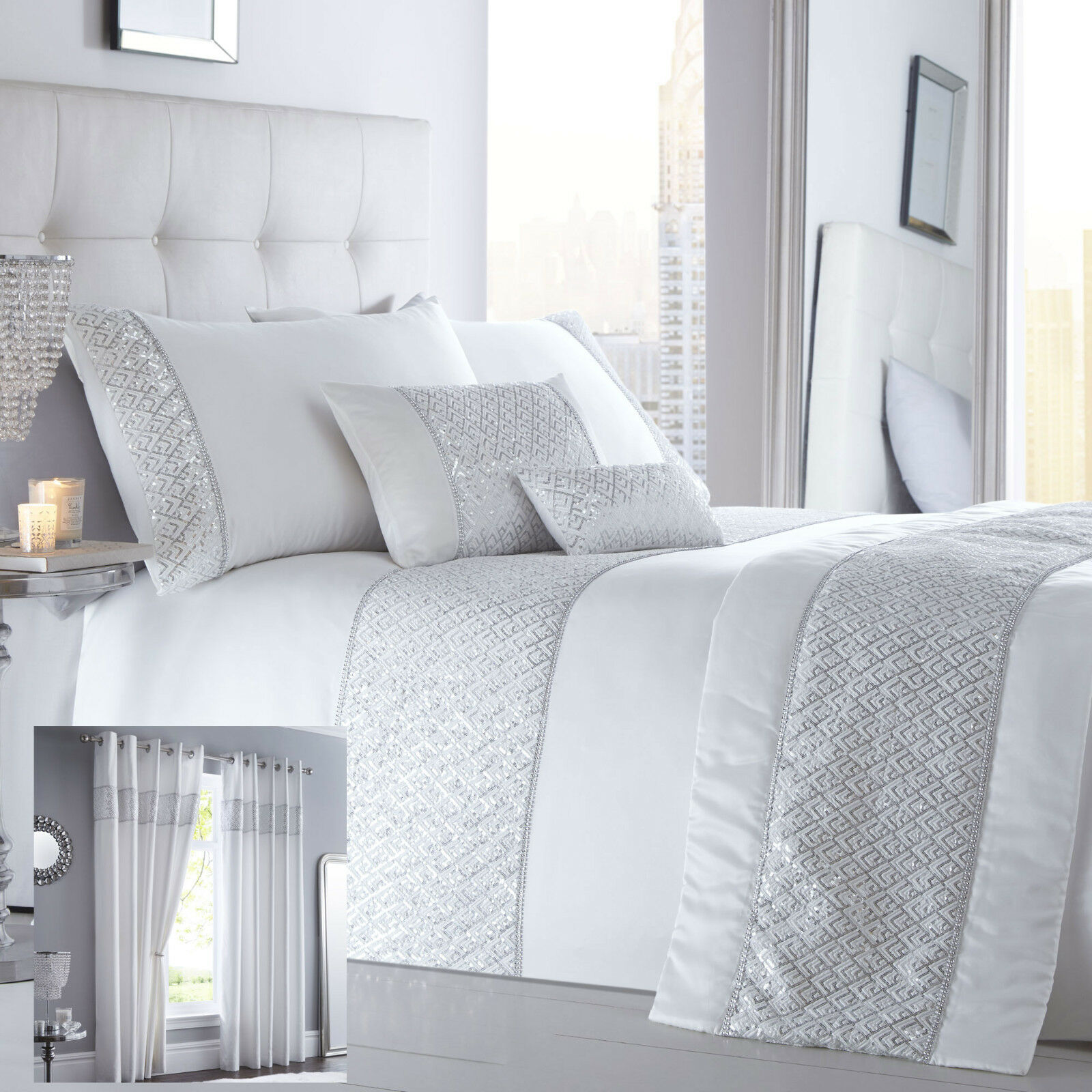 Shimmer Bedding Range White Choice of Duvet Sets Curtains Cushions & Bed Runner