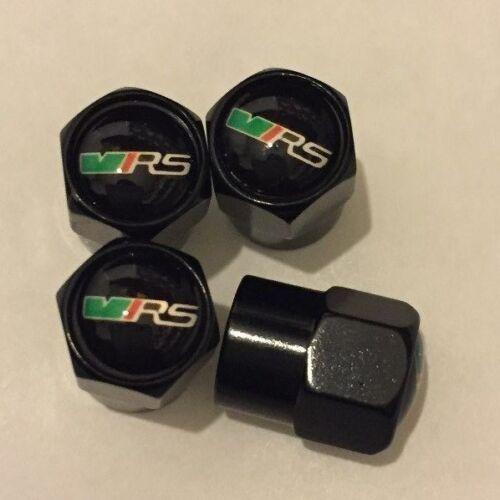 Válvula de aire de Skoda VRS Negro Brillo Polvo Tapas tapones de rueda neumático de coche PC X 4