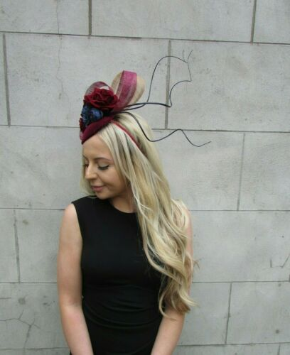 Navy Blue Burgundy Wine Red Gold Rose Flower Feather Hat Hair Fascinator 7210