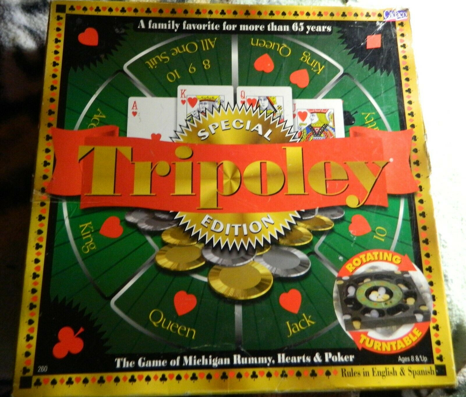 Tripoley Special Edition 2000 Cadaco Board Game redating Turnable-Complete