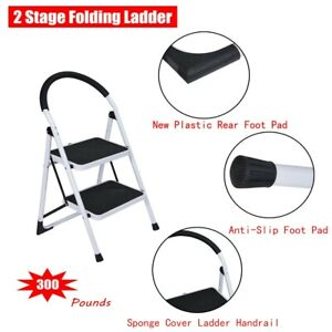 2 Stage Folding Step Stools Steel Ladder With Handle Anti