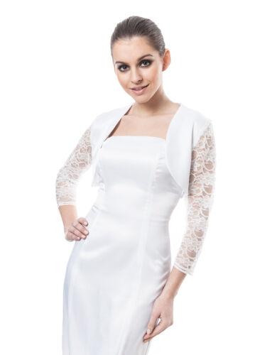 Nouveau Femmes Mariage Satin BOLERO Shrug Bridal Prom Veste dentelle manches 3//4 S-XXL