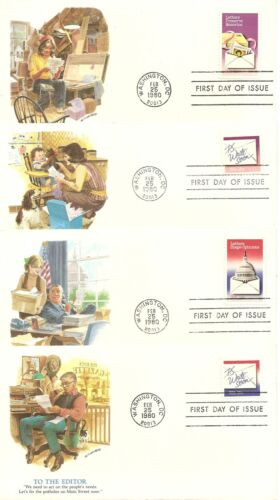 US SC 1805-1810 And 1810a Letter writing FDC 7 Covers Set. Fleetwood Cachet