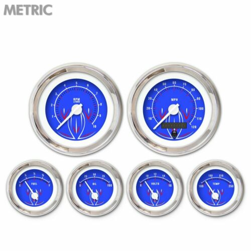 6 Gauge Set Speedo Tach Oil Temp Fuel Volt Pinstripe II Blue White LED Metric LS