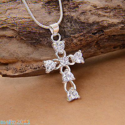 Women Silver plated Crystal Hollow Cross Charms Pendant for Necklace