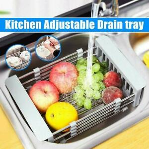 Telescopic-Sink-Drain-Basket-Dish-Drying-Rack-Kitchen-Organizer-Stainless-Steel