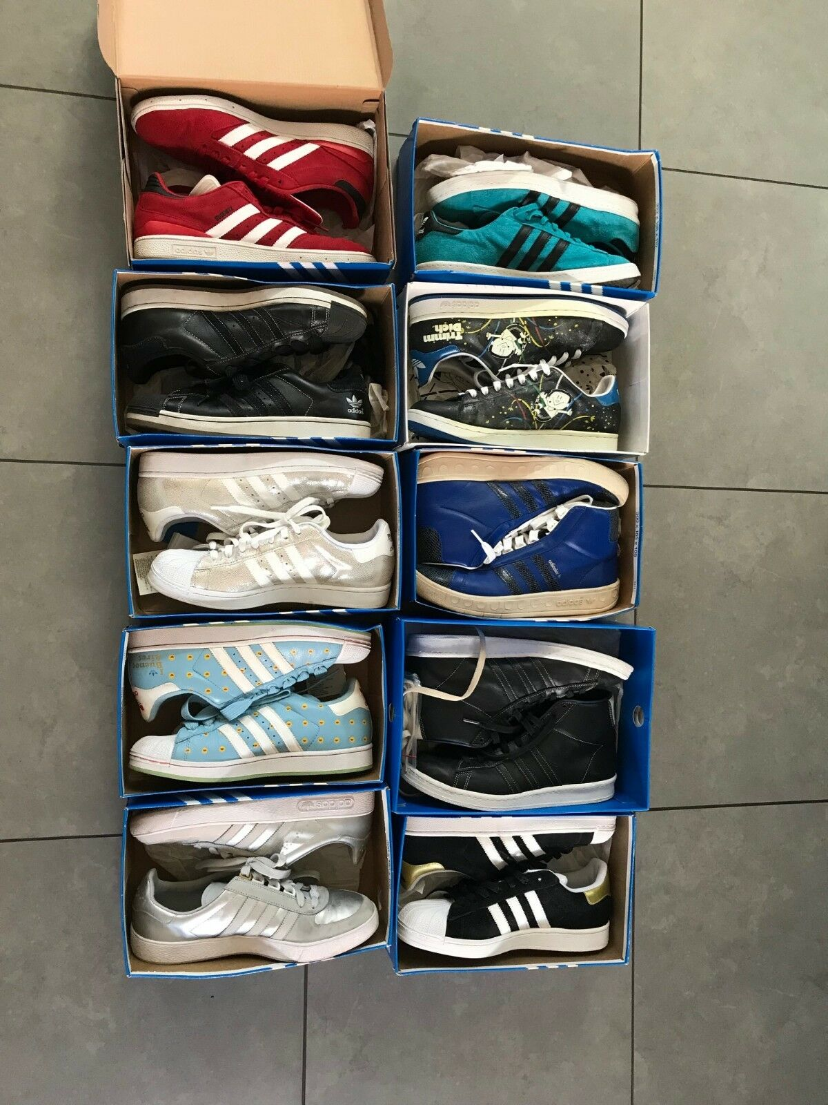 10 Pair of limited addition Adidas shoes. Men's size 9.5