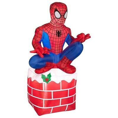 Gemmy 3.5' Airblown Spiderman sitting on Chimney Christmas ...
