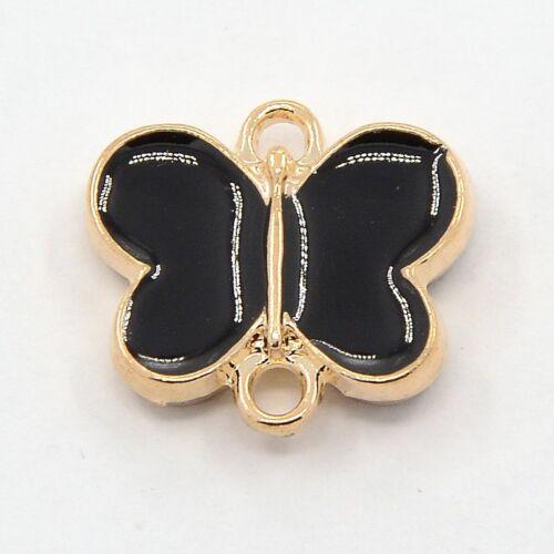 3 plaqué or double face noir émail papillon Connecteurs ~ 16mmx18mmx4mm ~ 48h