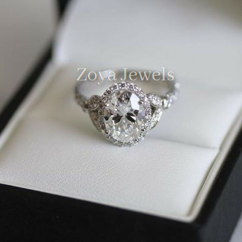 59f5f45ec12a8 Solid in Ring Engagement Diamond Oval 2.60ct Certified Real White ...