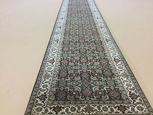 """Details about 2'.7"""" x 13'.9"""" Black Geometric Persian Oriental Rug Runner Hand Knotted Hallway"""