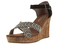 8 Toms Women's Shoes Strappy Wedge Black Woven W/ Cork Canvas Sandals Buckle